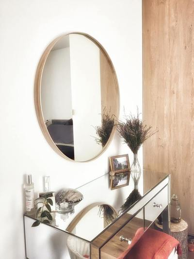 round wall mirror wood frame